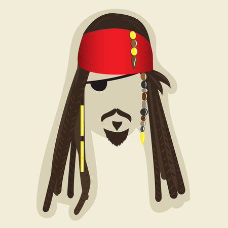 blanked: Vector pirate elements for photo booth or collage. Face symbol of a pirate with dreadlocks, bandana, mustaches, small beard, eye patch. Jack the Sparrow styled illustration with blanked out face for taking pictures