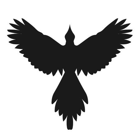 spread wings: Silhouette of a flying raven or crow bird, front view with spread wings. Simple vector contour isolated on white background. Graphic raven icon.