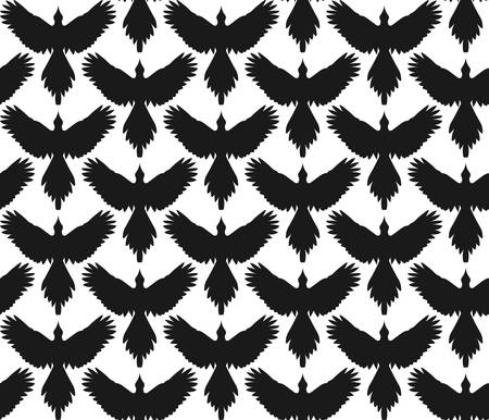 spread wings: Seamless pattern with black crows or ravens with spread wings, front view. Vertical rows. Simple contour shape, monochrome. Vector contrast background. Illustration