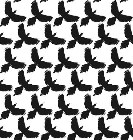 spread: Seamless pattern with black crows or ravens with spread wings, front view. Diagonal rows. Simple contour shape, monochrome. Vector contrast background.