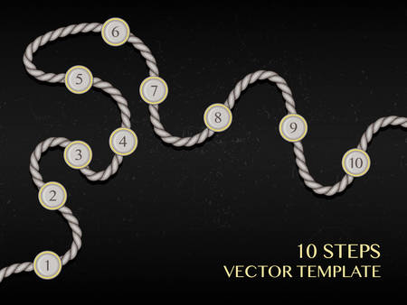 platforms: Ten steps infographic. Concept design template, timeline vector chart. Rope line with round platforms on dark background. Can be used for business success strategy plan, workflow, flow layout, step up options, or for game process visualization. Illustration