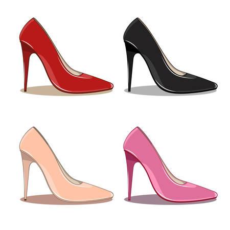 Reeks van 4 vrouwelijke modieuze schoen, diverse kleuren - rood, zwart, roze, beige. Hoge naaldhakken, puntige neuzen. Vector illustratie, geïsoleerd op een witte achtergrond. cartoon stijl met licht en schaduw. Vrouwelijk en glamour concept.