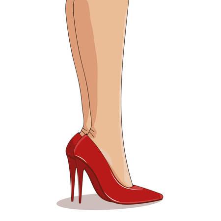 Rode modieuze schoenen op slanke vrouwelijke benen. Hoge naaldhakken, puntige neuzen. Vector illustratie, geïsoleerd op een witte achtergrond. cartoon stijl met licht en schaduw. Vrouwelijk en glamour concept.