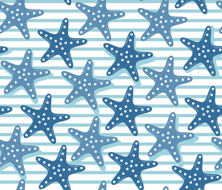 denim jeans: Colorful starfish pattern with stripes, cartoon style. Bright and simple denim palette for textile, scrapbooking, wallpaper and bags. Dark and light blue jeans color mix.