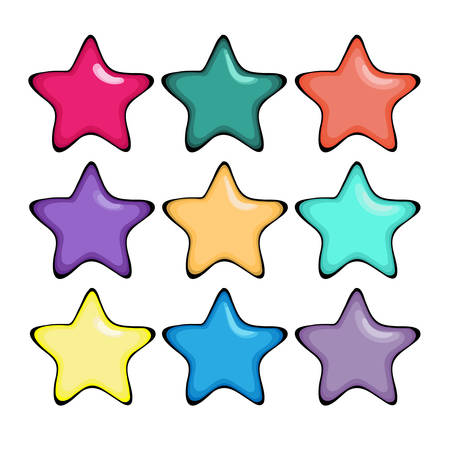 highlights: Five-finger or five point bright stars with highlights and volume. Clip art in different color variations. Cartoon sketch with hand drawn effect. Vector illustration.