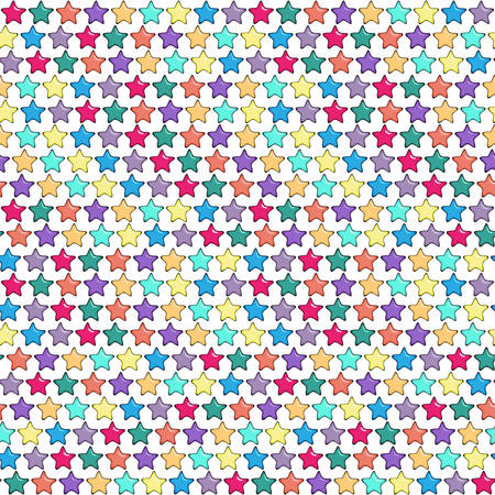 highlights: Seamless pattern with five-finger or five point bright stars having highlights and volume. Cartoon styled colorful background with hand drawn effect. Vector illustration. Illustration