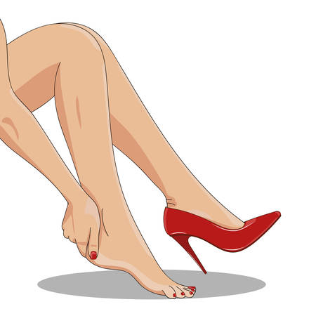 Vector illustration of slender female legs, sitting tired of high spike heels, with one red shoe on. Woman hand touching ankle, heel tendon and foot. High heels hurt and pain concept.