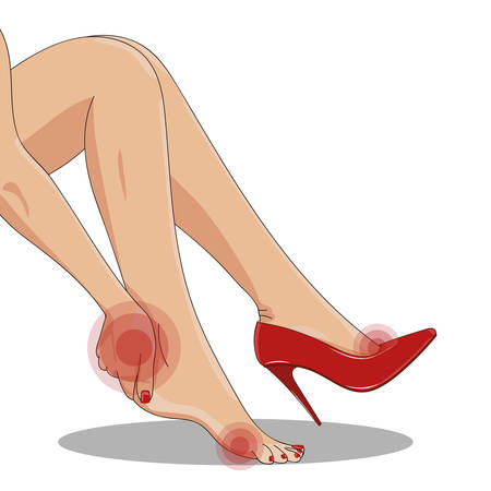 high heels woman: Vector illustration of slender female legs, sitting tired of high spike heels, with one red shoe on. Woman�s hand touching ankle, heel tendon and foot. High heels hurt and pain concept. Red circles imitating pain and hurt. Isolated on white. Illustration