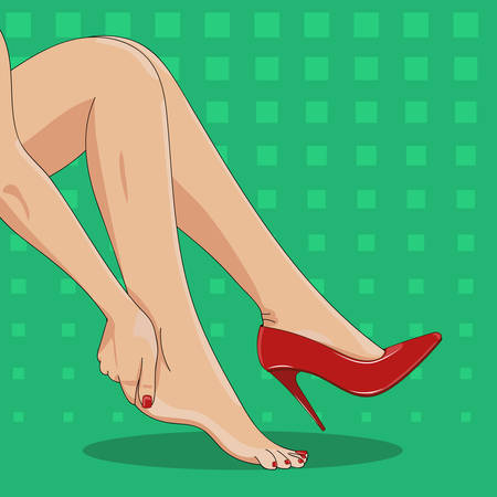 female legs: Vector illustration of slender female legs, sitting tired of high spike heels, with one red shoe on. Woman's hand touching ankle, heel tendon and foot. High heels hurt and pain concept. Pop art bright green retro background.