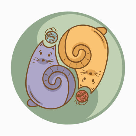 daoism: Yin-Yang sign or symbol with cats and wool thread bolls. Pastel colors. Cute and funny style. Vector concept illustration, t-shirt, bag or accessories print for cat lovers and fans. Illustration