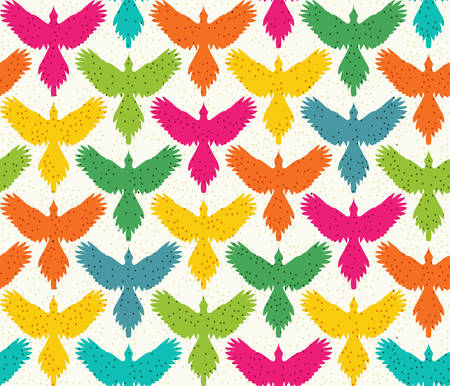spread wings: Seamless pattern, bird contour with spread wings, front view. Freedom concept background. Colored silhouettes on beige background, dotted texture. Vertical rows. Vector illustration. Illustration