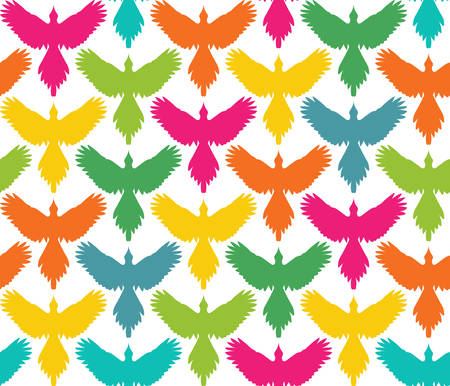 spread: Seamless pattern, bird contour with spread wings, front view. Freedom concept background. Colored silhouettes on white background. Vertical rows. Vector illustration.