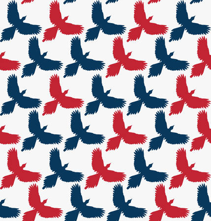 spread wings: Seamless pattern, bird contour with spread wings, front view. Freedom concept background. Navy blue and red silhouettes on white background. Diagonal rows. Vector illustration.