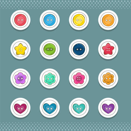 sew tags: Vector collection of cute round icons or stickers with sewing buttons. Different buttons shape: square, rectangle, flower, heart. Useful for sewing, craft items, jars, notebooks. Vector illustration.
