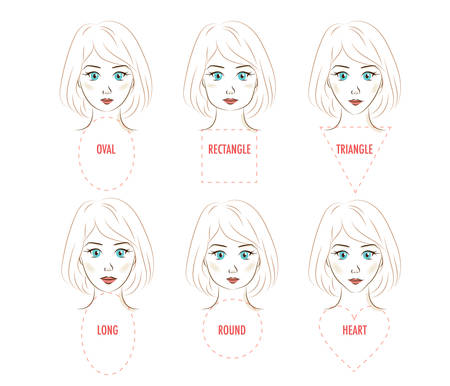 Woman face proportion infographic. Vector set of six different face shapes. Forms of a female face - rectangle, triangle, round, oval, heart, long. Illustration for make up artists, hairdressers, stylists