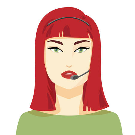 red haired girl: Beautiful sexy woman working in a call center with headset, flat style avatar. Red haired girl talking with client via headset. Client communication. Customer service support vector illustration.
