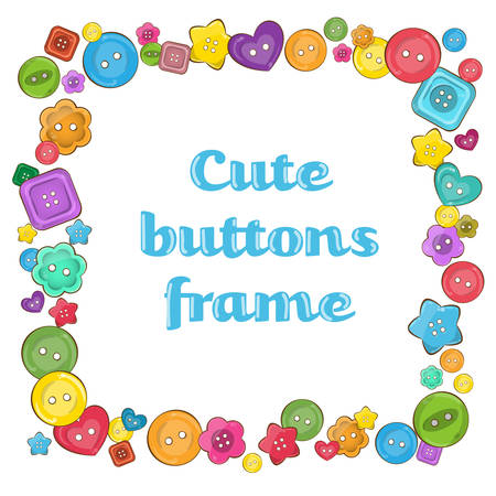 Colorful rectangle vector frame made from assorted sewing buttons. Different shapes of buttons: round, square, flower, heart. Decorative border for crafters, sewers, ateliers, fashion business.