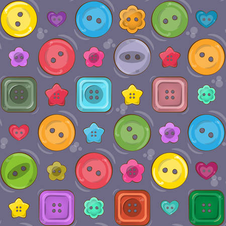 Vector seamless pattern with cute bright colorful vector buttons. Vivid palette. Different shapes - round, square, heart, flower and star shaped buttons. Illustration