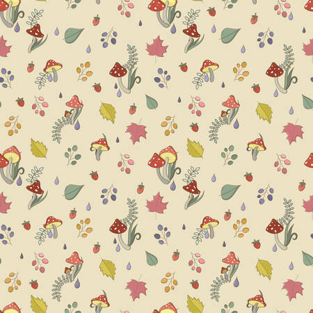 a toadstool: Autumn seamless pattern with toadstool, amanita, fly- agaric mushrooms, tree leafs and berries. Cute colorful cartoon style for kids. Vector background. Illustration