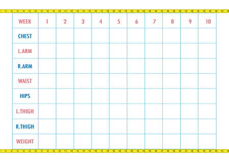 waist weight: Measurement chart of body parameters for sport and diet effect tracking. Blank weight loss table layout, decorated with yellow measuring tape. Chest, waist, hips, arms, thighs measurements recording. Vector illustration.