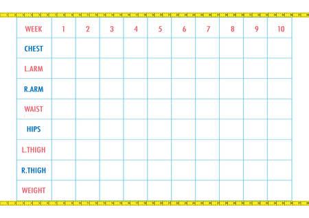 Körper-Mess-Tracking-Chart-Layout. Blank Gewichtsverlust Diagramm ...