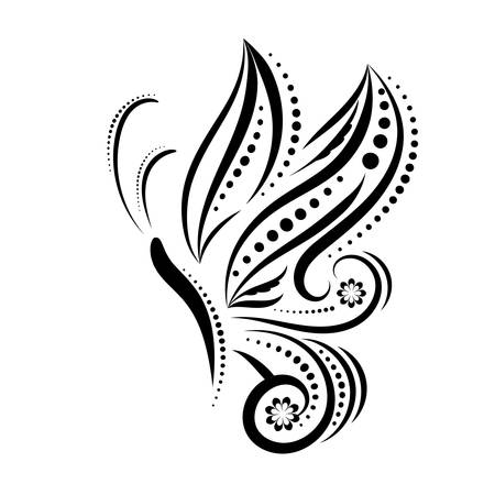vignette: Fantasy flying butterfly ornament or tattoo, silhouette. Black swirls and twirls isolated on white background. One wing, side view. Vector illustration. Illustration