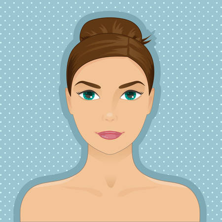 dark hair: Portrait of beautiful woman with hair bun, dark hair, green eyes. Cartoon cute style. Vector isolated with layers. Graphic design element for cosmetic, spa or beauty salon posters or flyers.