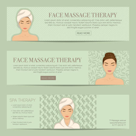 spa therapy: Set of horizontal banner, flyer or coupon templates. Beauty care, massage, relax and spa therapy concept. With portrait of beautiful girl in bathrobe, towel on head. Vector with organized layers.