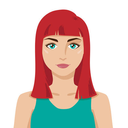 Beautiful friendly young girl with stylish red hair. Bob wig hairstyle. Cartoon flat style. Big green eyes, smiling, tanned skin, wearing green tank top. Vector isolated portrait with layers. Graphic design element for spa or beauty salon poster