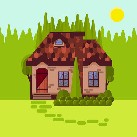 cosy: The cottage in the woods, flat style. Bright sunny day. Cosy little house made of stone or brick. Forest cabin amongst pines and firs. Vector illustration. Illustration