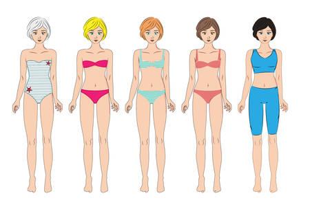 Vector set van 5 vrouwen in diverse badmode, sportkleding en ondergoed. Staande full body, front, geïsoleerd op wit. Vrouwelijk lichaam in goede vorm. Illustratie voor medicijnen of cosmetica infographic en design. Leuke cartoon-stijl.