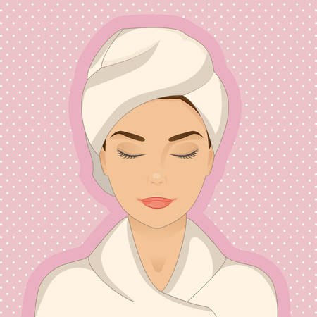 Portrait of beautiful woman wearing bathrobe, towel on her head, eyes closed, relaxing. Cartoon cute style. Vector isolated with layers. Graphic design element for cosmetic, spa or beauty salon posters or flyers.