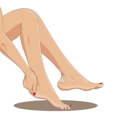 callus: Bare female legs with blister plaster applied on one heel. Side view. Medical strip bandage covering heel callus or wound. Tight footwear result. Vector illustration. Illustration