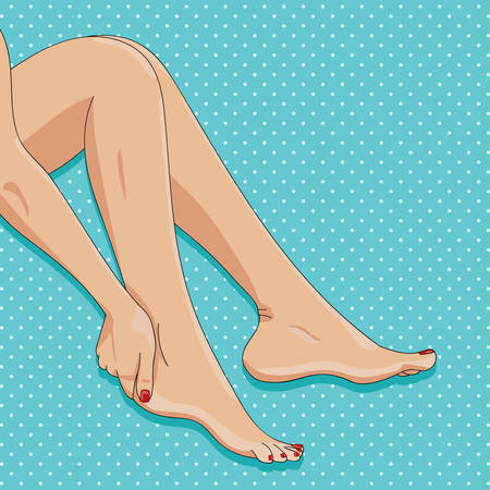 Vector illustration, female legs, sitting barefoot, side view, playful posture. Neat pedicure, manicure, red nail polish. Foot care, waxing, epilation, spa concept. Pop art dotted background
