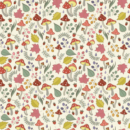 a toadstool: Autumn seamless pattern with toadstool, amanita, fly- agaric mushrooms, tree leafs, strawberries, blades of grass, dew or rain drops. Cute colorful cartoon style for kids. Vector detailed background with small elements.