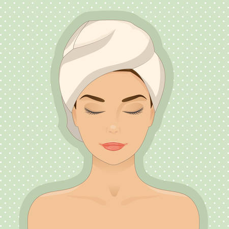 front of the eye: Portrait of beautiful woman relaxing, towel on her head, eyes closed. Cartoon cute style. Vector isolated with layers. Graphic design element for cosmetic, spa or beauty salon posters or flyers.