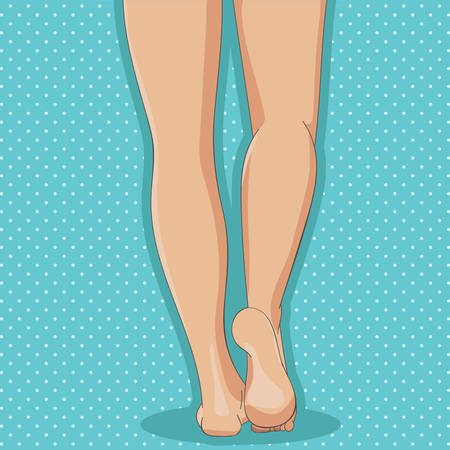 Slender female legs, barefoot, back view. Cartoon style, hand drawn. Feminine concept, design element for spa, medical centers, cosmetic products. Vector illustration, isolated on white background. Pop art dotted blue retro background.