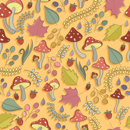 fly agaric: Autumn seamless pattern with toadstool, amanita, fly- agaric mushrooms, tree leafs, strawberries, dew or rain drops. Cute colorful cartoon style for kids. Vector background.