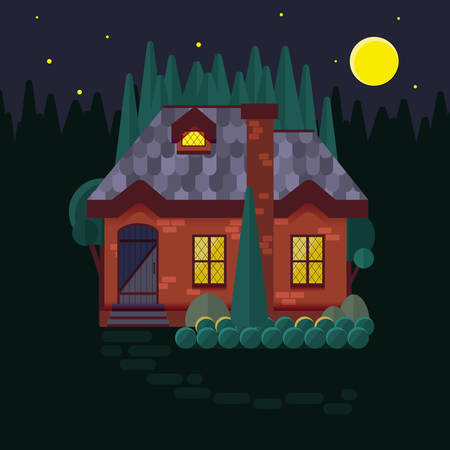 homely: The cottage in the woods, flat style. Night, light burning in the window. Cosy little house made of stone or brick. Forest cabin at night, pines and firs. Vector illustration.