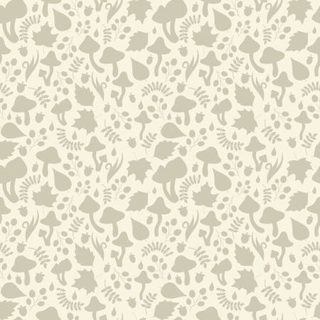 grass blades: Autumn theme seamless pattern with silhouettes and shadows of mushrooms, tree leafs, berries, blades of grass, foliage, dew or rain drops. Monochrome green and beige palette. Vector detailed background with small elements.