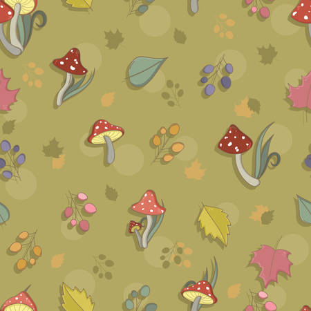 fly agaric: Autumn seamless pattern with toadstool, amanita, fly- agaric mushrooms, tree leafs and berries. Cute colorful cartoon style for kids. Vector background. Illustration