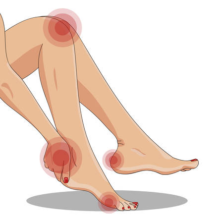 Slender female legs, sitting tired, side view. Woman's hand touching ankle, heel tendon and foot. Walking or high heels or callus hurt and pain concept. Red elements imitating pain and hurt. Vector illustration, isolated on white.