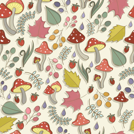 'fly agaric': Autumn seamless pattern with toadstool, amanita, fly- agaric mushrooms, tree leafs, strawberries, dew or rain drops. Cute colorful cartoon style for kids. Vector background.