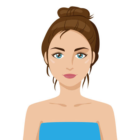 Beautiful friendly young girl with hair bun, dark hair. Cartoon style. Big green eyes, tanned skin. Wearing towel. Vector portrait with layers. Graphic design element for spa or beauty salon poster Vettoriali