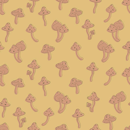 amanita: Autumn seamless pattern with toadstool, amanita, fly- agaric mushroom contours and silhouettes. Cute cartoon doodle style for kids. Vector background, orange, brown, terracota color palette.