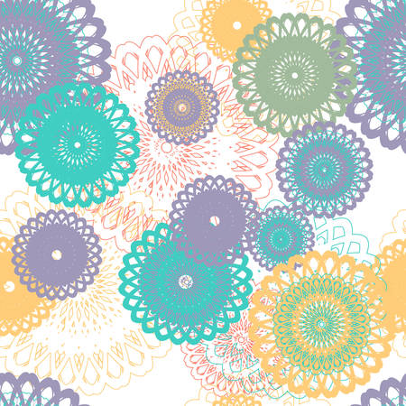 Seamless pattern with stylized flowers. Colorful cake doilies on white background. Summer pastel colors. Vector illustration. Illustration