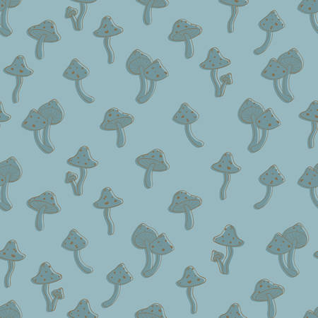 agaric: Autumn seamless pattern with toadstool, amanita, fly- agaric mushroom contours and silhouettes. Cute cartoon doodle style for kids. Vector background, blue color palette.