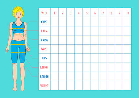 body dimensions: Body measurement tracking chart layout. Blank weight loss chart. Chest, waist, hips, arms, thighs measurements recording. Figure of the girl, model in sportswear. Vector illustration.