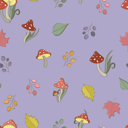 'fly agaric': Autumn seamless pattern with toadstool, amanita, fly- agaric mushrooms, tree leafs and berries. Cute colorful cartoon style for kids. Vector background. Illustration