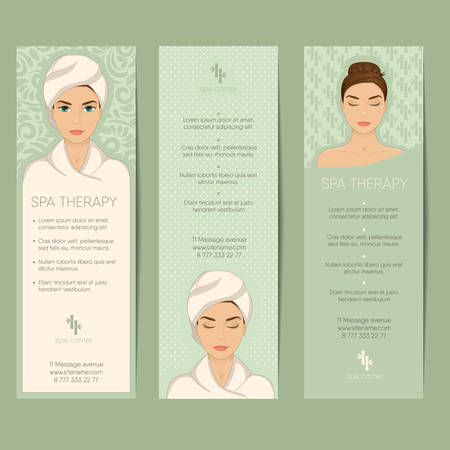 Set of vertical banner, flyer or coupon templates. Beauty care, massage, relax and spa therapy concept. With portrait of beautiful girl in bathrobe, towel on head. Vector with organized layers. Stock Illustratie